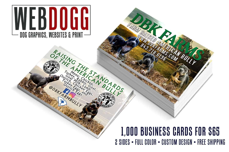 DBK Farms – Farm Raised American Bully – Business Cards - WEBDOGG