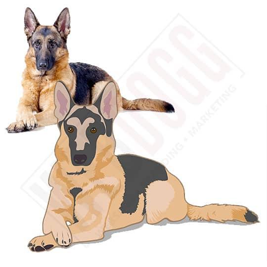 German Shepherd - Photo to Vector